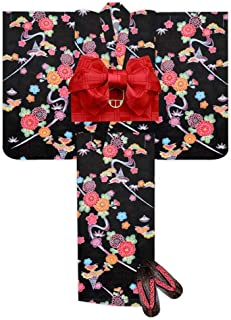 浴衣 こども 女の子 浴衣 セット 紅型風 子供浴衣 作り帯 下駄 3点セット 選べるサイズ(110 120)「黒 流水」BIN-AK-set