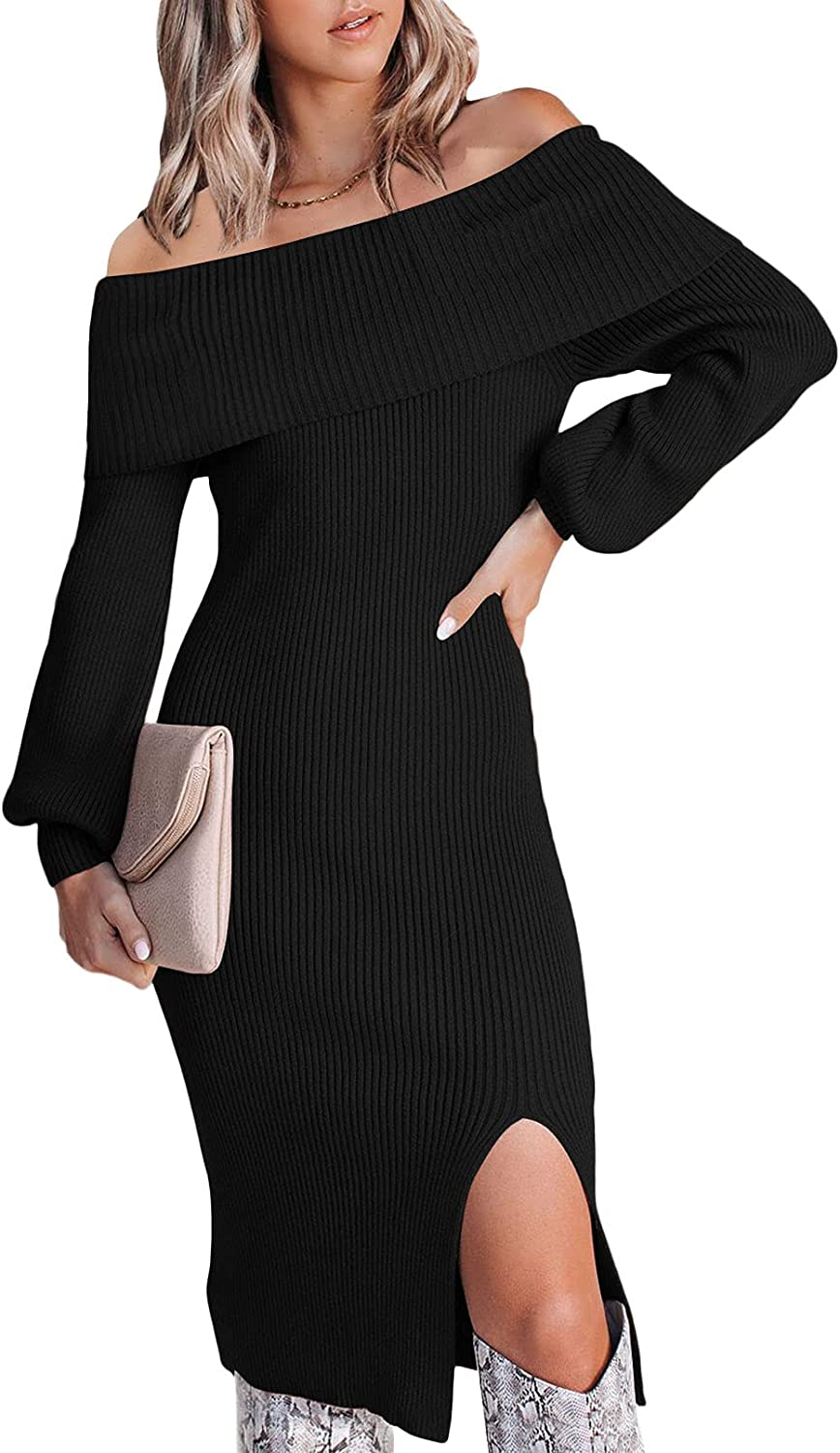 Meenew Women's Off Shoulder Sweater Dress Slim Fitted Midi Party Dress with Slit