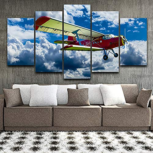 Art fotos fotolijsten voor de woonkamer 5 panelen vleugels wit wolk moderne wand HD bedrukt schilderij No Frame