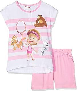 46325 a Maniche Corte Disney Pigiama Bambina Principesse Estivo in Cotone