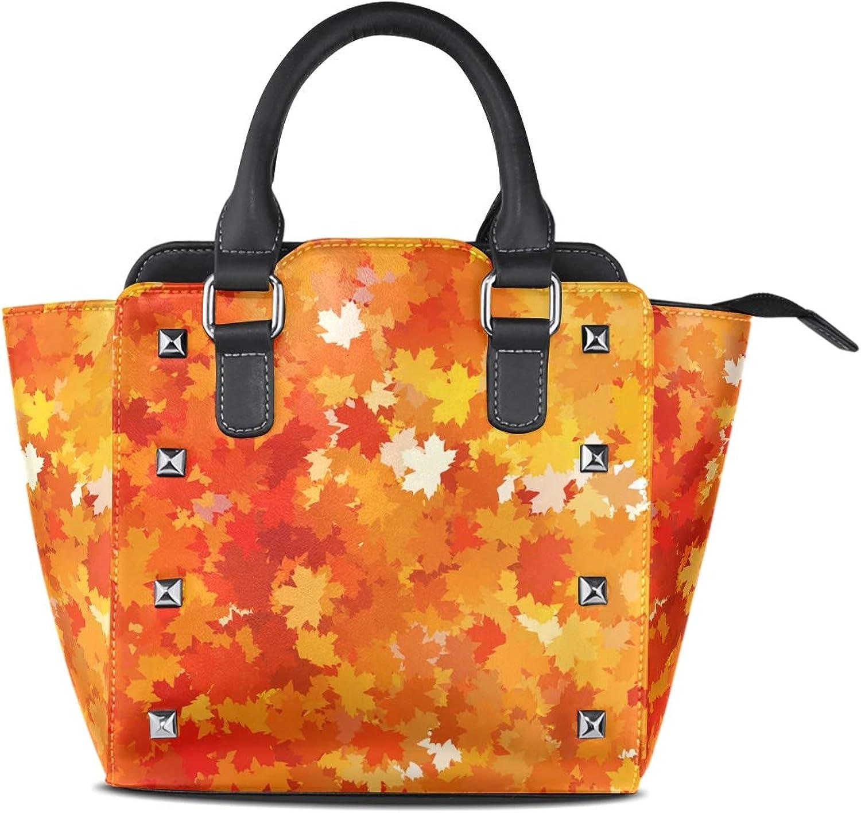 My Little Nest Women's Top Handle Satchel Handbag Thanksgiving Autumn Maple Leaves Ladies PU Leather Shoulder Bag Crossbody Bag