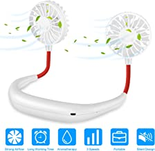 Portable Neck Fan USB Rechargeable, Hands Free Personal iköer Necklace Fan with Dual Wind Head for Office Sport Outdoor Traveling and More (White)