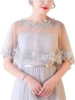 MisShow Women's Lace Appliques Shawls Wedding Bridal Cape Shoulder Covers Bolero