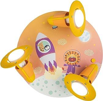 Holz Elobra Kinderlampe Little Astronauts Escape Deckenleuchte 137970 orange