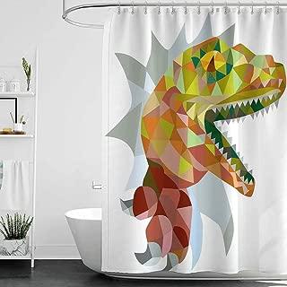 シャワーカーテン黒と灰色の爬虫類、マルチカラーモザイクワイルドトレックスイラストが口を開くジュラ紀のピクセル恐竜家の装飾、マルチW72 X L72、クローフット浴槽用シャワーカーテン 200X180 CM