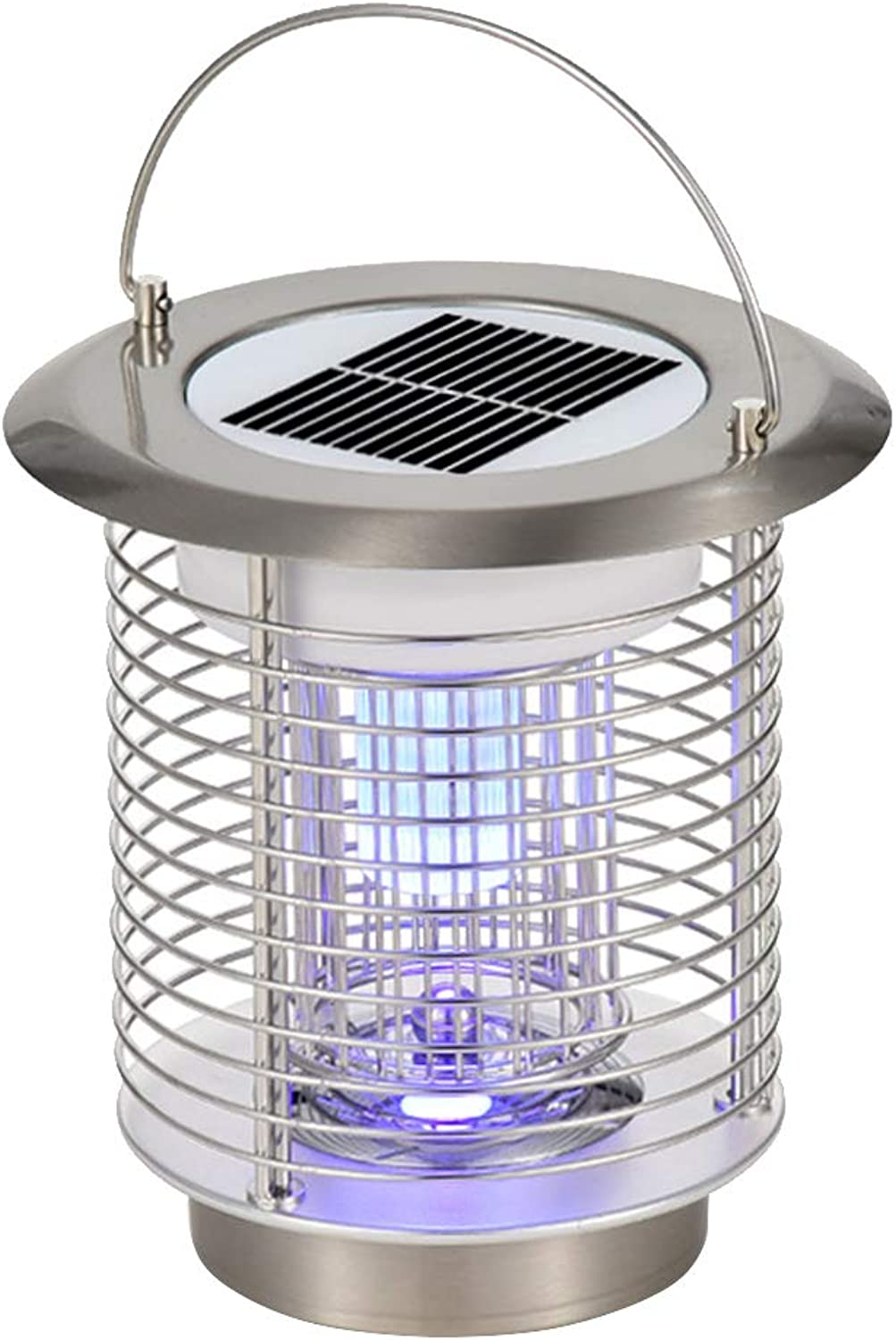 Solar Mosquito Killer, LED PPortable Mosquito Repellent Lamp, Mosquito Insect Lamp per Garden Yard Lawn Camping (Silver)