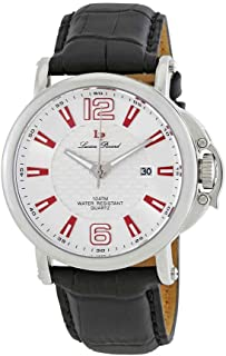 Men's 'Triomf' Quartz Stainless Steel and Black Leather Casual Watch (Model: LP-40018-02S-RDA)