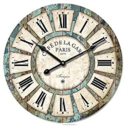 Eruner 16-inch Vintage Wood Clock, French CountryCafe De La Gare Retro Style Non-Ticking Wooden Wall Clock (#03)