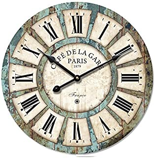 Decoration Vintage Clock Dial - Eruner France Paris Rural Tuscan Style 16-inch Wooden Wall Clock Roman Numerals Retro Decor Wall Art for Livingroom Office Cafe(16