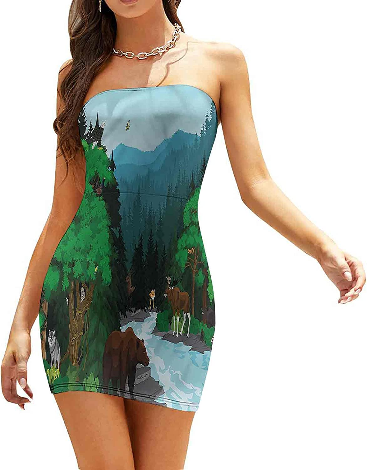 Women's Summer Strapless Dresses Animal Faces with Glasses Dresses
