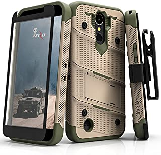 ZIZO Bolt Series LG K20 Plus Case Military Grade Drop Tested with Tempered Glass Screen Protector Holster LG Harmony TAN CAMO Green