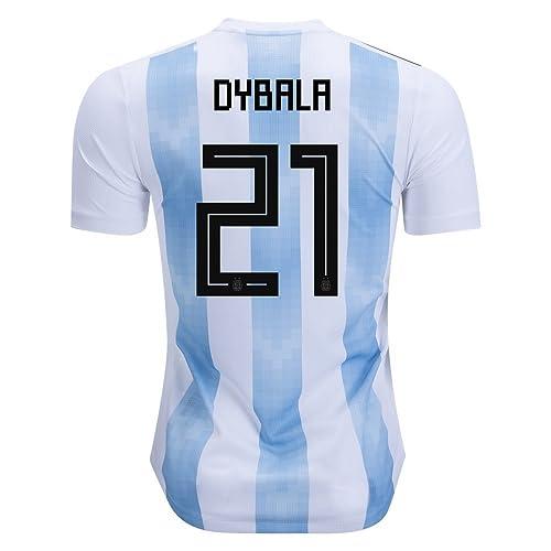 aceeca2ec32 Dybala  21 Jersey Argentina National Team Home 2018 Soccer Jersey Mens  White Blue Size