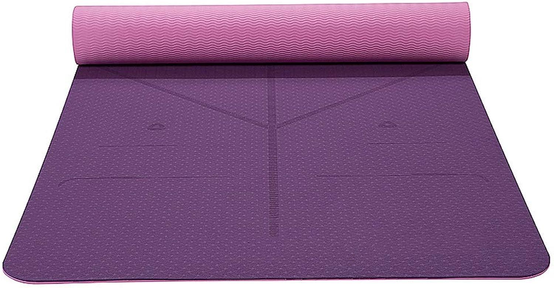 DJY Yogamatte Dance Fitness Yogamatte, Zugstufe, Rutschfest, Reifest, Langlebig, 183 X 61 cm - Yoga, Sit-ups, Outdoor-Sportarten, Yoga-Matte Für Familien. (Farbe   Lila)