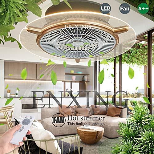 LED Dimmbar Deckenventilator Fan Deckenleuchte Mit Beleuchtung Und Fernbedienung Runde Fan Kreative Deckenlampe Modern Ventilatorlicht Pendelleuchte Für Wohnzimmer Esszimmer Schlafzimmer 48W