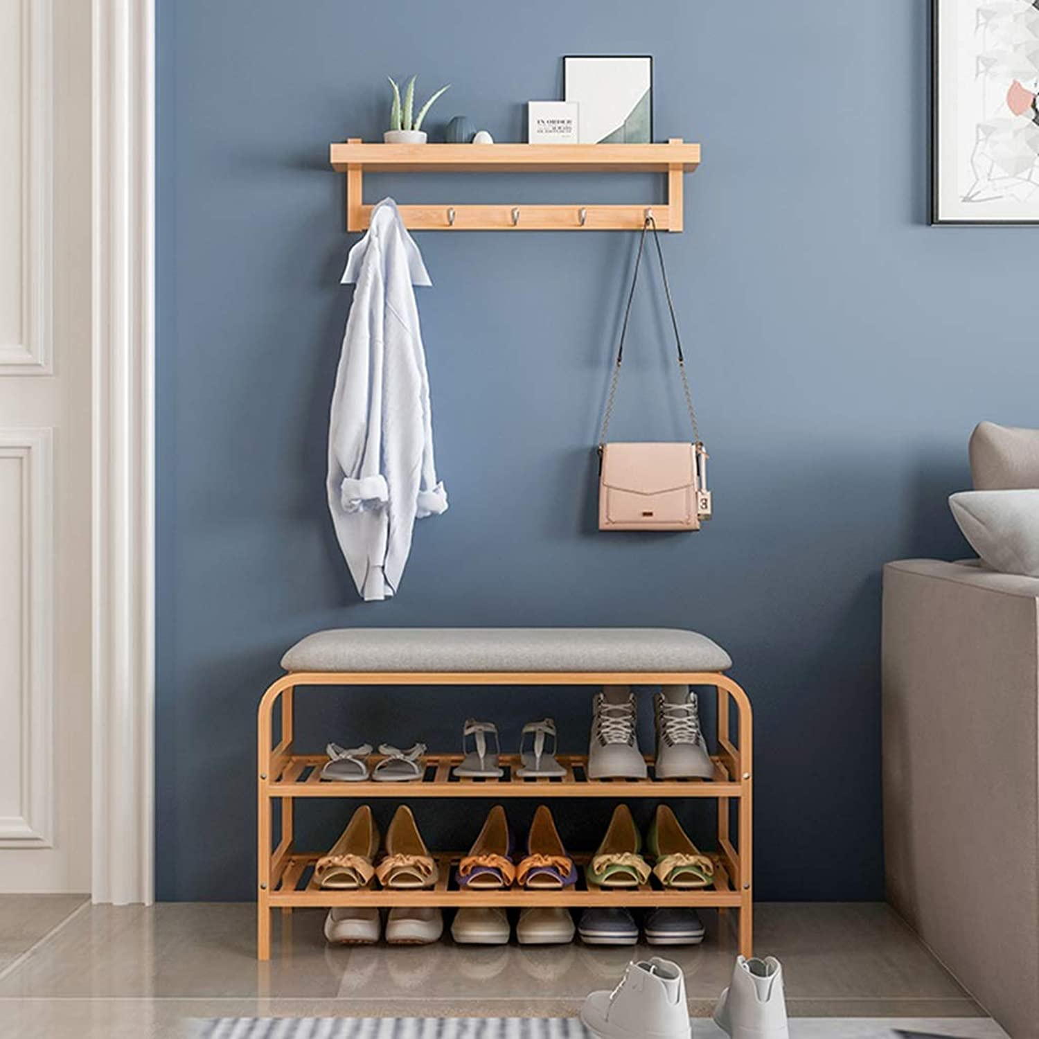 Modern Bamboo Wood shoes Bench Storage shoes Rack 2-Tier Upholstered Seat Stool, Waterproof shoes Shelf for Entryway, Livingroom, Hallway (Size   2-Tier)