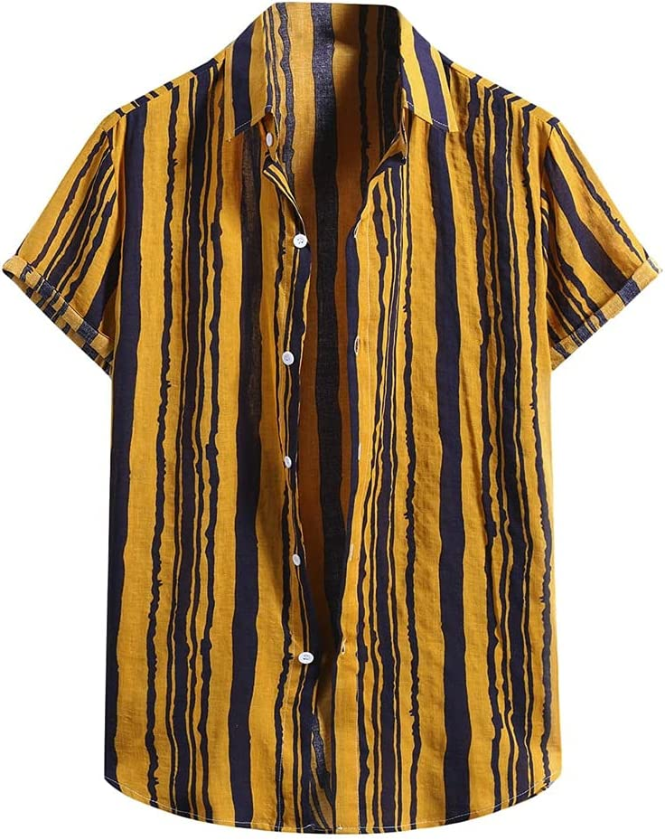 DJASM Men's Striped Shirt for Men Cotton Sho Fasion Now free shipping Summer Linen OFFicial mail order