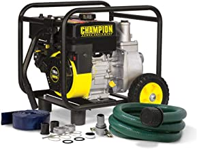 Champion 2-Inch Gas-Powered Semi-Trash Water Transfer Pump with Hose and Wheel Kit