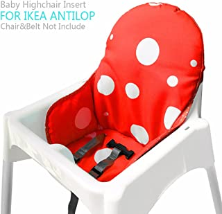 Ikea Antilop Highchair Seat Covers & Cushion by AT, Washable Foldable Baby Highchair Cover Ikea Childs Chair Insert Mat Cushion (Red)