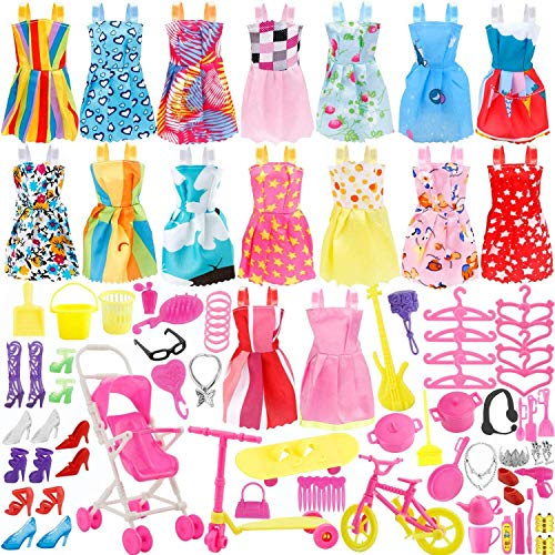 Augshy Total 114pcs Accessories for Dolls-16pcs Princess Dresses Clothes Party Gown Outfits for Girls Doll+98pcs Dolls Accessories Shoes Bags Necklace Mirror Hanger Tableware