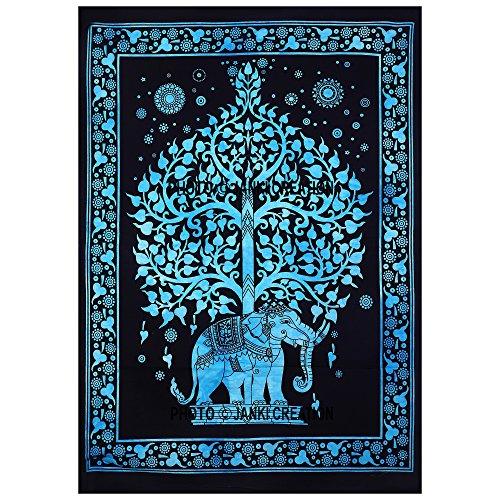 Janki Creation Póster de tapiz del árbol de la vida, diseño de mandala hippie bohemio, multicolor de algodón, póster indio, tamaño 40 x 30, póster étnico decorativo, mandala indio