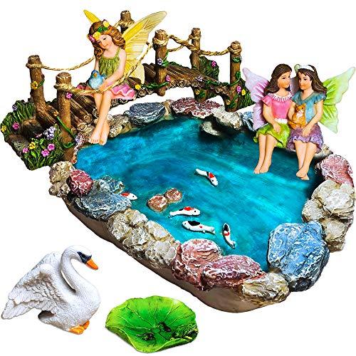 Fairy Garden Fish Pond Kit - Miniature Bridge Fairy Garden Figurines with Accessories - Hand Painted...