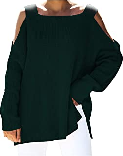 Pink Queen Womens Square Neck Cold Shoulder Oversized Batwing Pullover Sweater