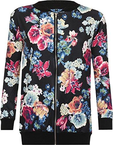 WearAll Damen Übergröße Rose Blumendruck Bomber Jacke Langarm Zip Mantel Varsity - Schwarz - 50-52