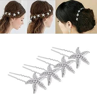 yueton Pack of 10 Bride Crystal Rhinestone Starfish Hair Pin Hair Jewelry Hair Accessories Women Headwear Headdress for Beach Themed Wedding,Party, Daily Use