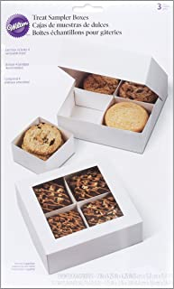 Wilton Treat Sampler Boxes, Perfect for Sharing homemade Desserts, Cookies and Snacks as a Gift, Each Box has 4-Compartments, Includes 3-Boxes, White