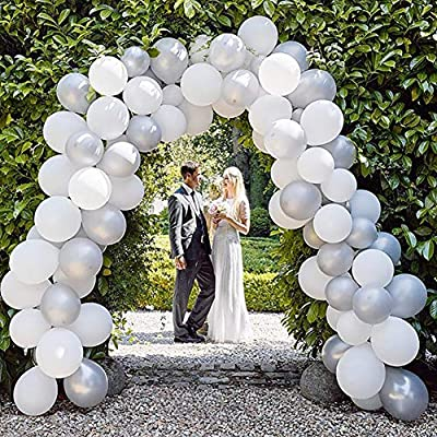 Amazon - Save 50%: White Gray Balloon Garland Arch Kit, 64 Pack 10 Inch Metallic White Party Ballo…
