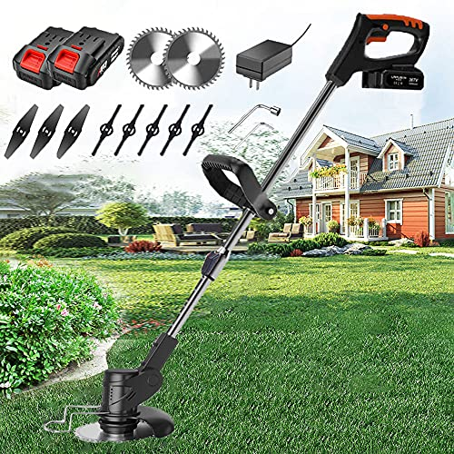 Grass Trimmer Strimmers Cordless with 24V Battery & Fast Charger & Spare Blades, 600W, 6000 RPM Battery Strimmer Lightweight Telescopic Cordless Grass Cutter Gardening Tools,Black Grass Trimmer