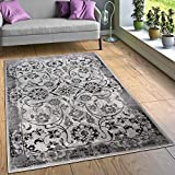 Paco Home Alfombra Diseño Salón Alfombras Floral Aspecto Vintage Contorneada Negro Blanco, tamaño:80x150 cm