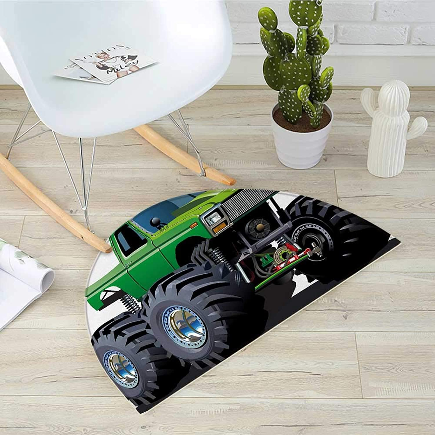 Cars Semicircular CushionGiant Monster Pickup Truck with Large Tires and Suspension Extreme Biggest Wheel Print Entry Door Mat H 31.5  xD 47.2  Green Grey
