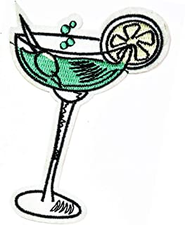 Wine Glass Lemon Cocktail Glass Drink Patch Cartoon Embroidered Ice Cream Donut Sweets Drinking Party Beverage Pizza Hut D...