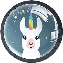 Ladeknoppen Ronde Kast Handgrepen Pull voor Thuiskantoor Keuken Dressoir Garderobe Decoreren, Eenhoorn Llama Alpaca