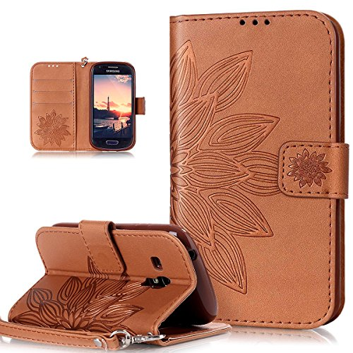 Kompatibel mit Galaxy S3 Mini Hülle,Galaxy S3 Mini Schutzhülle,Prägung Blumen Muster PU Lederhülle Flip Hülle Cover Soft Silikon Ständer Wallet Hülle Tasche Cover Schutzhülle für Galaxy S3 Mini,Braun