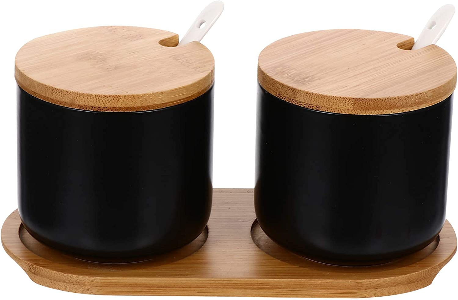 BERTY·PUYI Sugar Bowl Brand new with Spoon Wooden Jars Lid Ceramic Dealing full price reduction Storage