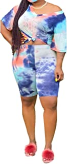 Plus Size 2 Piece Outfits for Women - Short Sleeve Tie Dye Print T Shirt Tops and Shorts Set Tracksuit