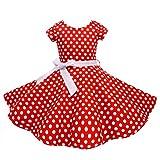 HBBMagic Kurzarm Rockabilly 50er Vintage Retro Kleid mädchen Baumwolle Kleid Polka Dots Faltenrock mit Halskette Zubehör Geschenke für Kinder ,8 Jahre,Roter / Weißer Punkt