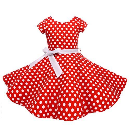 HBBMagic Kurzarm Rockabilly 50er Vintage Retro Kleid mädchen Baumwolle Kleid Polka Dots Faltenrock mit Halskette Zubehör Geschenke für Kinder ,12 Jahre,Roter / Weißer Punkt