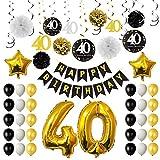 TUPARKA Decoracion Fiesta 40 Cumpleanos, Cumpleanos Hincha 40 o, de Papel, Pompones Colgantes remolinos, Hoja de Oro Globos Feliz 40o cumpleaños Decoraciones para Hombres y Mujeres