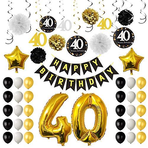 TUPARKA Decoración la Fiesta de cumpleaños 40 o, cumpleaños hincha 40 o, de Papel, Pompones Colgantes remolinos, Hoja de Oro Globos Feliz 40o cumpleaños Decoraciones para Hombres y Mujeres