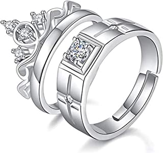 073777b69a Blue Shine White Rhinestone Beautiful Adjustable Couple Rings in Queen King  Design for Valentine Gifts for