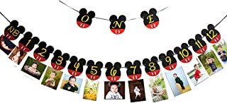 """CHuangQi Mickey Themed Birthday Party Photo Banner & """"ONE"""" High Chair Banner, NB to 12 Month Photo Banner, 1st Birthday Su..."""
