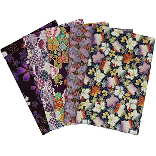 aufodara 5 Pezzi Tessuto in Cotone 50x50 cm, Stoffa Stile Giapponese, Tessuti effetto dorato Patchwork Cucito Quilting, Brillante Stoffe per Hobby Creativi (Viola)