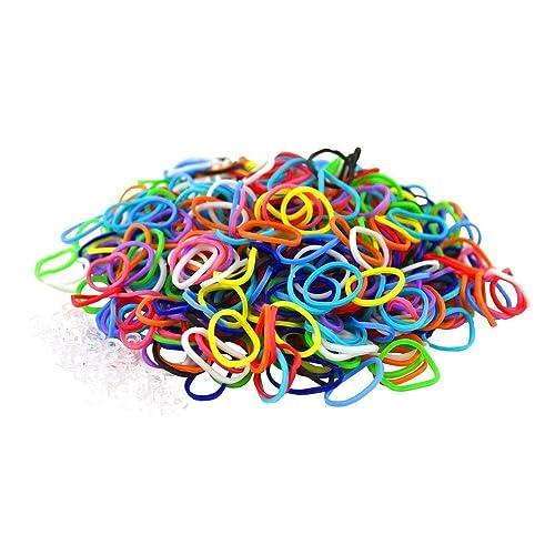 600 élastiques rouge rose jaune violet 24 clips  bracelet style Rainbow Loom