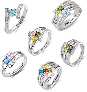 Sterling Silver Princess-Cut Mothers Ring 1-6 Birthstonesand Names & 1 Inside Message Promise Rings for Couple, Engagement Rings for Women