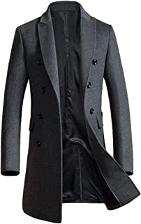 46ed4497c7a Mordenmiss Men s Premium Double Breasted Woolen Pea Coat Notched Collar  Overcoat