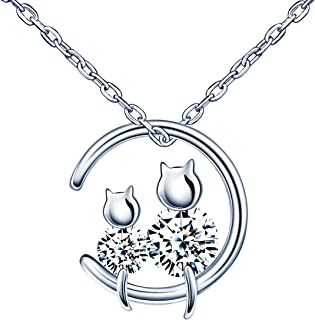 Infinite U Womens Girls Pearl Necklace Cute Kitten Pendant Inlaid Zircon 925 Sterling Stilver Adjustable Chain Perfect Gift for Birthday