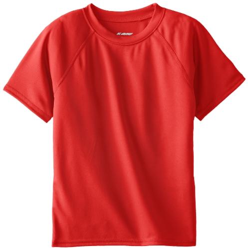 Kanu Surf Boys' Toddler Short Sleeve UPF 50+ Rashguard Swim Shirt, Solid Red, 2T